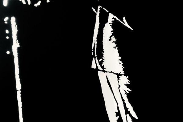 Thiery Kolb présente Miles Davis, sculpture sur bois découpé et rétroéclairé l90xh180